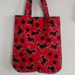 Plaid Scottie Terriers On Red Curved Bottom Tote